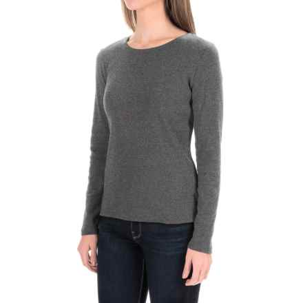 Solid Knit Cotton Shirt - Long Sleeve (For Women) in Grey - 2nds