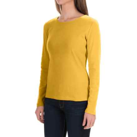Solid Knit Cotton Shirt - Long Sleeve (For Women) in Mustard - 2nds