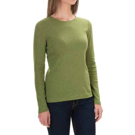 Solid Knit Cotton Shirt - Long Sleeve (For Women) in Olive Heather - 2nds