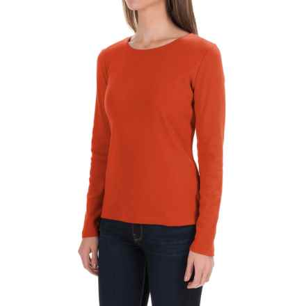 Solid Knit Cotton Shirt - Long Sleeve (For Women) in Orange - 2nds