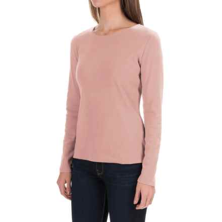 Solid Knit Cotton Shirt - Long Sleeve (For Women) in Pink - 2nds