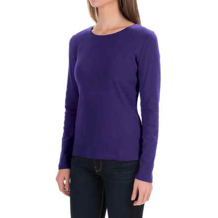 Solid Knit Cotton Shirt - Long Sleeve (For Women) in Purple - 2nds