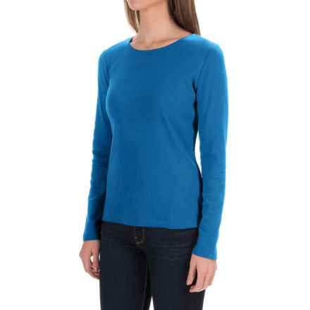 Solid Knit Cotton Shirt - Long Sleeve (For Women) in Turquoise - 2nds
