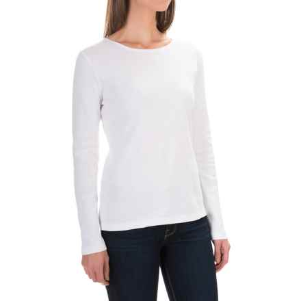 Solid Knit Cotton Shirt - Long Sleeve (For Women) in White - 2nds