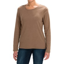 Solid Knit Shirt - Crew Neck, Long Sleeve (For Women) in Brown - 2nds