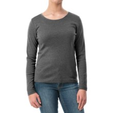 Solid Knit Shirt - Crew Neck, Long Sleeve (For Women) in Grey - 2nds