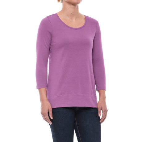 Solid Knit Tunic Shirt - Pima Cotton, 3/4 Sleeve (For Women) in Lilac