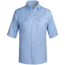 Solid Linen-Blend Shirt - Short Sleeve (For Big Men) in Blue - 2nds