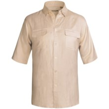 Solid Linen-Blend Shirt - Short Sleeve (For Big Men) in Natural - 2nds