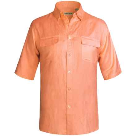 Solid Linen-Blend Shirt - Short Sleeve (For Big Men) in Orange - 2nds