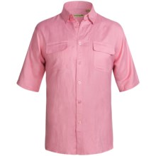 Solid Linen-Blend Shirt - Short Sleeve (For Big Men) in Pink - 2nds