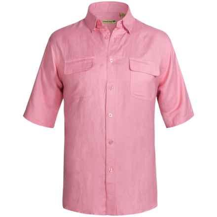 Solid Linen-Blend Shirt - Short Sleeve (For Big Men) in Pink - 2nds