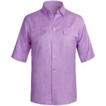 Solid Linen-Blend Shirt - Short Sleeve (For Big Men) in Purple - 2nds