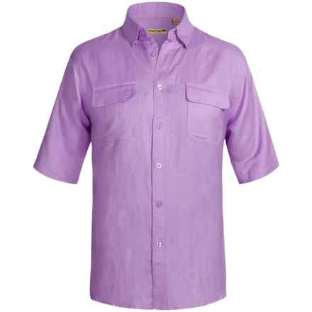Solid Linen-Blend Shirt - Short Sleeve (For Big Men) in Purple - 2nds