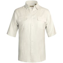 Solid Linen-Blend Shirt - Short Sleeve (For Big Men) in White - 2nds