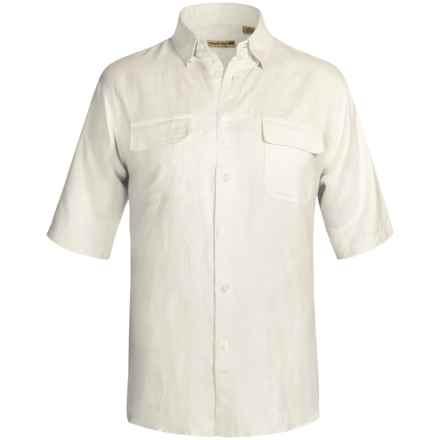 Solid Linen-Blend Shirt - Short Sleeve (For Big Men) in White - 2nds