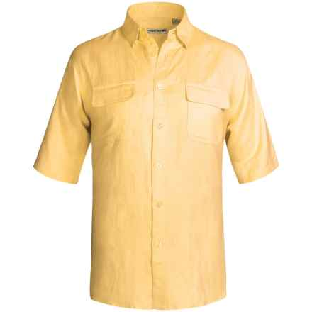 Solid Linen-Blend Shirt - Short Sleeve (For Big Men) in Yellow - 2nds