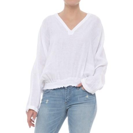 Solid Linen Hoodie Shirt - Long Sleeve (For Women)