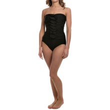 Solid Shirred Bandeau Swimsuit (For Women) in Black - 2nds