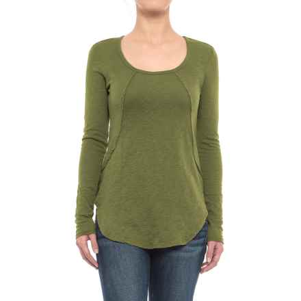 Solid Slub-Knit Tunic Shirt - Long Sleeve (For Women) in Chartreuse - 2nds