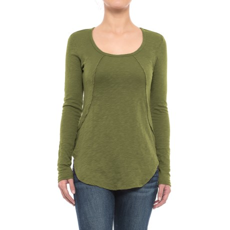 Solid Slub-Knit Tunic Shirt - Long Sleeve (For Women) in Chartreuse
