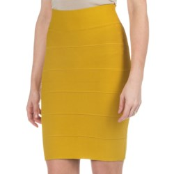 Solid Stretch-Knit Skirt (For Women) in Mustard