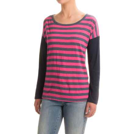 Solid Striped T-Shirt - Scoop Neck, Long Sleeve (For Women) in Pink - 2nds
