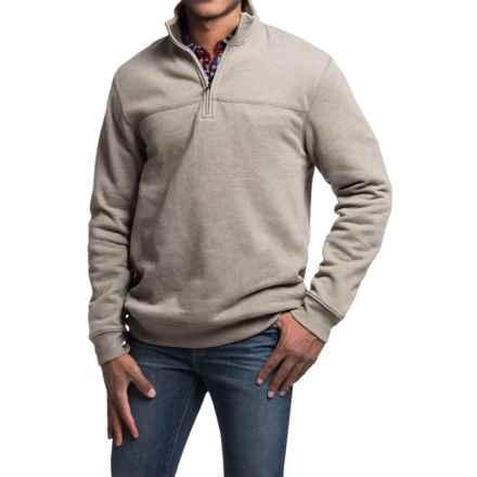 Solid Sweatshirt - Zip Neck (For Men) in Beige - 2nds