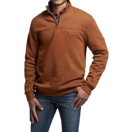 Solid Sweatshirt - Zip Neck (For Men) in Brick Red - 2nds