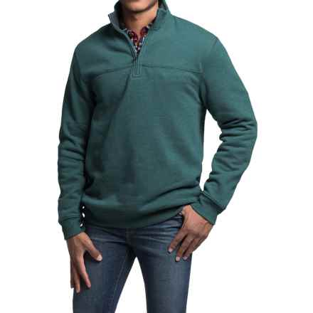Solid Sweatshirt - Zip Neck (For Men) in Dark Teal - 2nds