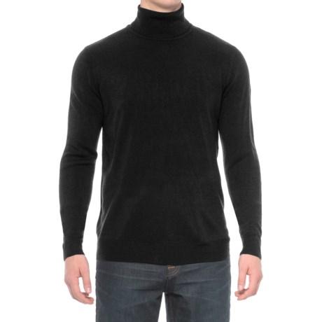 Solid Turtleneck Sweater (For Men) in Black