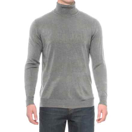 Solid Turtleneck Sweater (For Men) in Light Grey - Closeouts