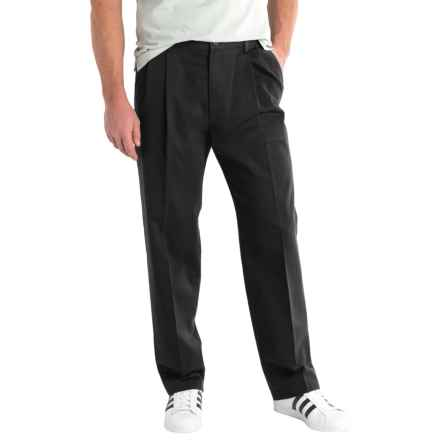 Solid Twill Pants - Pleated Front (For Men) in Black - 2nds