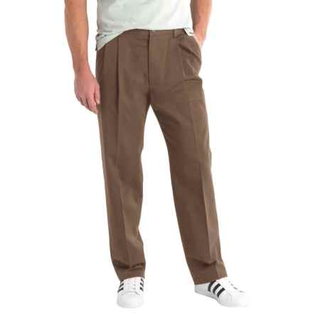 Solid Twill Pants - Pleated Front (For Men) in Brown - 2nds