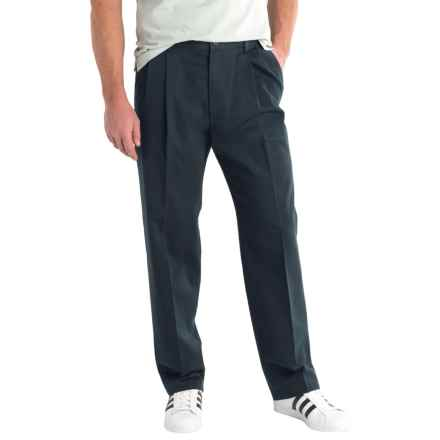 Solid Twill Pants - Pleated Front (For Men) in Navy - 2nds