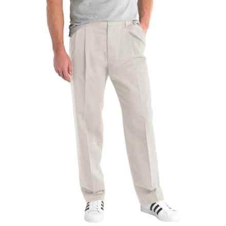Solid Twill Pants - Pleated Front (For Men) in Stone - 2nds