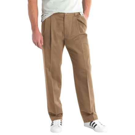 Solid Twill Pants - Pleated Front (For Men) in Tan - 2nds