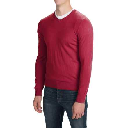 Solid V-Neck Sweater (For Men) in Dark Red - Closeouts