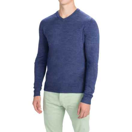 Solid V-Neck Sweater (For Men) in Navy - Closeouts