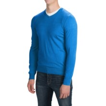 Solid V-Neck Sweater - V-Neck (For Men) in Blue - Closeouts