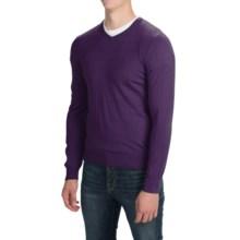 Solid V-Neck Sweater - V-Neck (For Men) in Dark Purple - Closeouts