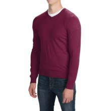 Solid V-Neck Sweater - V-Neck (For Men) in Dark Wine - Closeouts