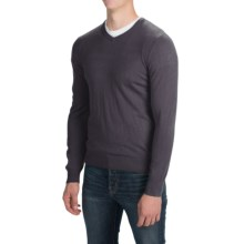 Solid V-Neck Sweater - V-Neck (For Men) in Grey - Closeouts