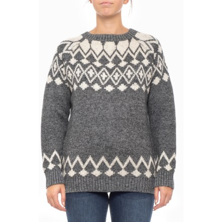 a275fc2915f45f Solitaire Asymmetric Patterned Pullover Sweater (For Women) in Grey White -  Closeouts