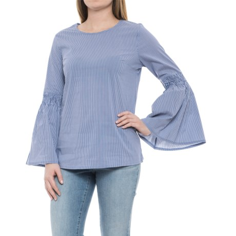 Solitaire Bell Sleeve Woven Shirt - Long Sleeve (For Women) in Blue Stripe
