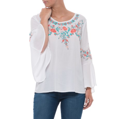 Solitaire Embroidered Blouse - Long Sleeve (For Women) in Whtie