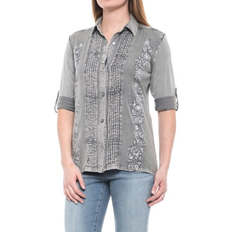 Solitaire Embroidered Button-Up Shirt - Long Sleeve (For Women) in Grey