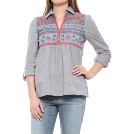Solitaire Embroidered Collared Shirt - Long Sleeve (For Women) in Blue Grey - Closeouts