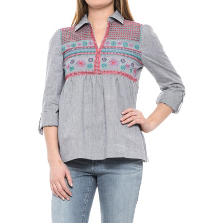Solitaire Embroidered Collared Shirt - Long Sleeve (For Women) in Blue Grey