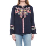 Solitaire Embroidered Peasant Shirt - Long Sleeve (For Women)